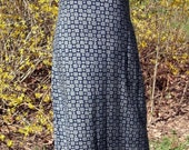 Vintage Boho Grunge Midi DRESS, sleeveless, NAVY BLUE white gray tribal print, hippie festival sundress, long flowing rayon, 90s indie chic