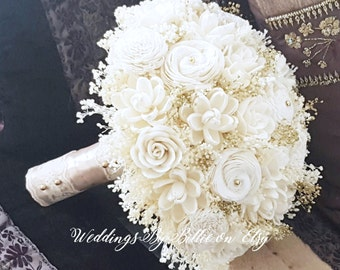 Ivory Champagne Sola Bouquet, Ivory Gold Sola Wedding Flowers, Rustic Wedding, Alternative Bouquet,Bridal Accessories,Keepsake Bouquet, Sola