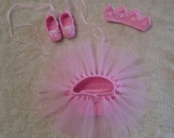 Crochet baby ballerina photo prop set