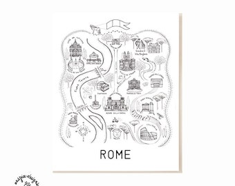 Rome City Map Art Print - Black & White