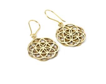 Brass Seed of Life Earrings, Sacred Geometry handmade Yoga Earrings, Nickel Free, Spiritual Jewellery, Gift boxed,Free UK post BG2
