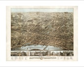 """Hartford Connecticut in 1875 Panoramic Bird's Eye View Map by O. H. Bailey & Co. 22x17"""" Reproduction"""