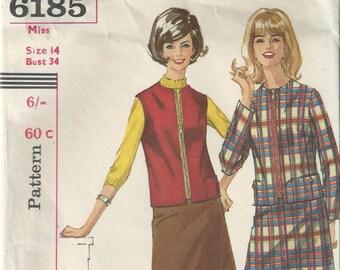 Jacket and Skirt - Simplicity Pattern 6185 - 1965 - Unused Pattern