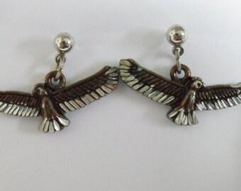 Vintage Eagle Bird Earrings Signed SW 92