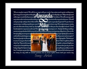 Anniversary song lyric paper gift for him. her personalized infinity wedding gift first dance lyrics wall art wedding song marriage photo