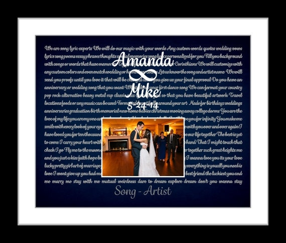 Wedding Present Box Elder Lyrics : ... wedding gift first dance lyrics wall art wedding song marriage photo