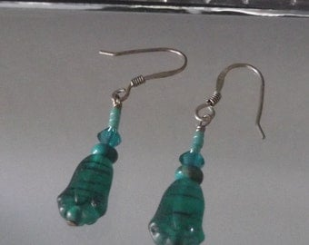 Jade Green Frosted Glass Crystal Drop Earrings