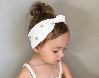 Baby topknot headwrap GOLD POLKADOTS