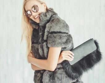 "Real rabbit fur vest ""Grey"""