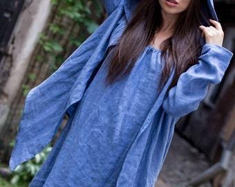 Blue Linen jacket // Oversized linen top / Woman jacket / Linen cardigan / Wrap cardi / Linen hoodie / Linen coat / Oversize hood / Festival