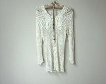 Amazing See Through Vintage Open Weave Scoop Neck White Crochet Long Sleeve Sweater Tunic, with Gorgeous Lace Panels on Front, Boho Beach