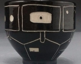 Small Black and White Robot Bowl