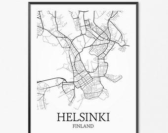 Helsinki Map Art Print, Helsinki Poster Map of Helsinki Decor, Helsinki City Map Art, Helsinki Gift, Helsinki Finland Art Poster