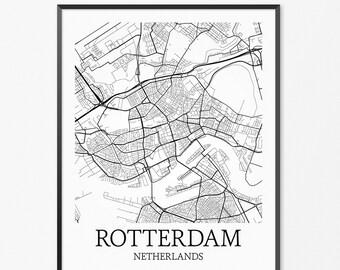 Rotterdam Map Art Print, Rotterdam Poster Map of Rotterdam Decor, Rotterdam City Map Art, Rotterdam Gift, Rotterdam Netherlands Art Poster