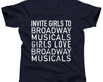 Broadway Shirt Broadway Musical Theater Musical Theatre New York City Musicals Tshirt Broadway Party Typography Shirt Musical Theatre Gift