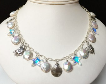 Chesapeake Bay Jewelry; Sterling Silver Chesapeake Bay Charm Necklace with Coin Pearls and Swarovski Crystal Starfish