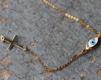 Evil eye necklace,Gold Evil eye,Gold Necklace,Protection Necklace,Good Luck,Cross Sideways,Ivory Evil Eye,Gold Cross,Christian jewelry