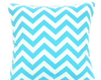 Aqua Chevron Pillow Covers, Decorative Throw Pillows, Cushions, Aqua White Zig Zag, Couch Bed Sofa, Throw Pillow, Girly Blue, ALL SIZES
