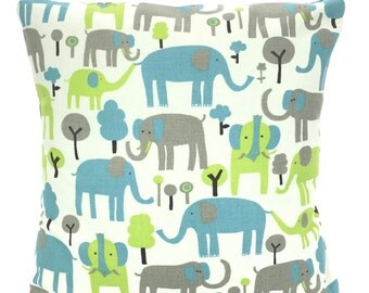 Blue Green Gray Elephant Pillow Covers, Nursery Pillows, Childrens Throw Pillow, Cushions, Grey, Trunk Tails, Baby, One or More All Sizes
