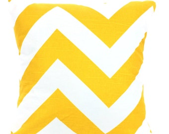 Yellow Chevron Pillow Cover, Decorative Throw Pillow, Cushions, Large Chevron Zippy, Couch Bed Pillow, Euro Sham, One or More All Sizes