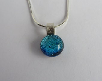 Dichroic Glass Necklace - Blue Dot