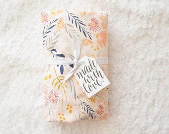 Crib Sheet or Changing Pad Cover | Girl Baby Bedding | Floral Crib Sheet | Peach Gold Crib Bedding | Arid Nursery | Standard or Mini Crib