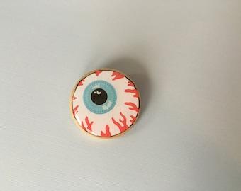 eyeball patch pinback button pin resin and wood handmade eye pin