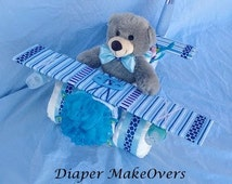 Airplane Diaper Cake - Baby Shower Centerpiece - Unique Baby Boy Gift - Unique Diaper Cake - Baby Shower Decorations - Airplane Theme