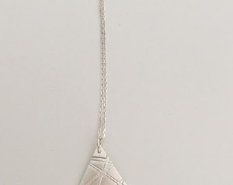 Lines on triangle, pendant necklace, fine silver with sterling silver chain