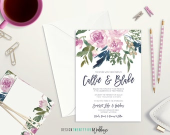 Purple Floral Wedding Invitation Suite // 5x7 Invitation // Choose Your Set! // The Callie Collection