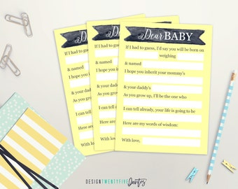 PRINTABLE Dear Baby Keepsake Card // 5x7 // Keepsake Card // Baby Shower