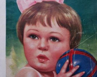 Vintage Marilu magazine.Antique doll.Muñeca Marilu.Revista antigua.Famous doll.Argentina.Magazine Cover.Pink.Green.Blue.Black and white.Rare