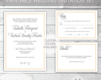 Peach/Gray Printable Wedding Invitation Set | Classic | Isabella Collection | RSVP & Details/Enclosure Card | Custom Colors Available