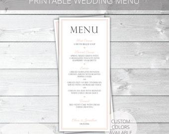 Blush/Gray Printable Wedding Menu | Classic | Olivia Collection | Custom Colors Available
