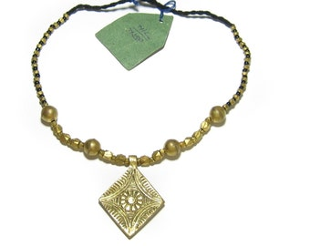 Dhokra - Indian Tribal Necklace with Diamond Pendant