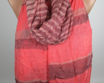 Coral scarf Stripe Scarf Fringe Scarf Crinckle Scarf Women Fashion Accessories Gift Ideas For Her Christmas Gifts Holiday Fashion MELSCARF