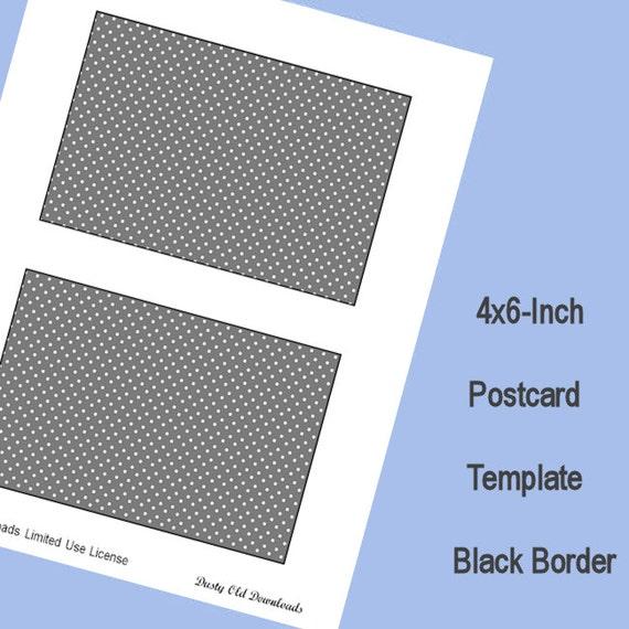 4x6 postcard template black border digital download. Black Bedroom Furniture Sets. Home Design Ideas