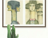 Ilustraciones de pareja, Lámina de hombre y mujer, Díptico hombre y mujer, Lámina enamorados para decoración de dormitorio, recién casados