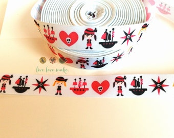 "1"" Pink-Girl-Pirate Grosgrain Ribbon-by the Yard-Scrapbook-Craft Projects-Gift Wrap-party supplies-Pirate Birthday party-Crossbones-Skull"