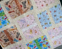 Baby Quilt, Nursery Wall Hanging, Baby Shower Gift, Nursery Decor, Quilted Wall Hanging, Baby Foot Prints, Sesame Street, Precious Moments