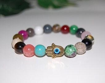 Hamsa Hand, Many Colors Gemstone 10mm Beads Elastic Bracelet, Evil Eye, Stretch Bracelet, Men,Women,Beaded,Yoga,Pray,Protection,Meditation