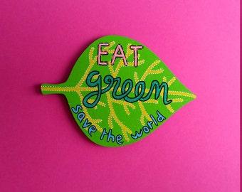 GIANT wood magnet hand-painted leaf vegan vegetarian vegetalian glitter sparkles