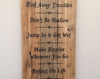 """Advice from The Lake. You choose LAKE customized lake reclaimed wood sign. 11""""x24"""""""