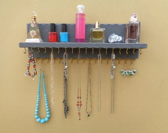 OTHER COLORS TOO - Jewelry Organizer - Necklace Holder - With A Shelf - (35) Hooks - Distressed Dark Gray Finish - Hangers Installed