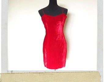 Vintage 90s Womens Red Velvet Mini Dress - Size 9