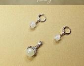 Gemstone Moonstone pendant earring set, Moonstone pendant, Moonstone earrings, White Gold plated Rhinestone bail and loops,InfinityCraftArts
