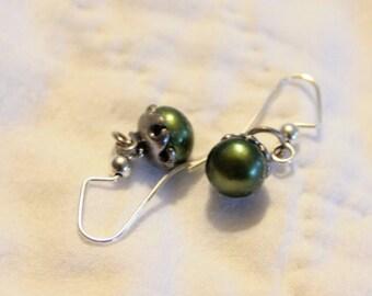 Green Pearl Earrings (Cultured)