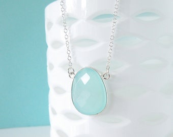 Aqua Chalecdony Necklace - Silver Necklace - Gemstone Necklace - Pendant Necklace