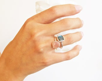 Silver Labradorite Ring - Silver Ring - Stackable Ring
