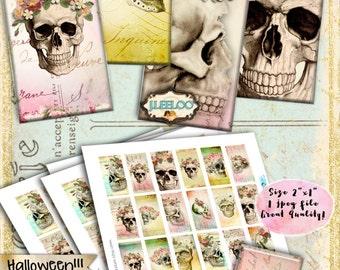 DIA De LOS MUERTOS printable 2x1 inch domino goth scary resin pendant - halloween skulls instant download digital collage sheet - do160